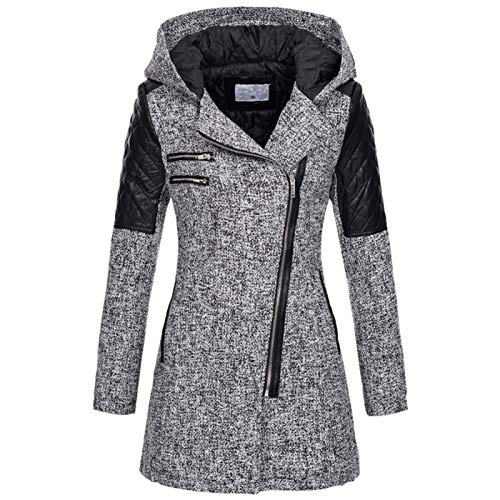 LaiYuTing 2020 Women's Fall/Winter Mid-Length Hooded Loose Oblique Zipper Woolen Trench Coat Thick Cotton Jacket Light Grey