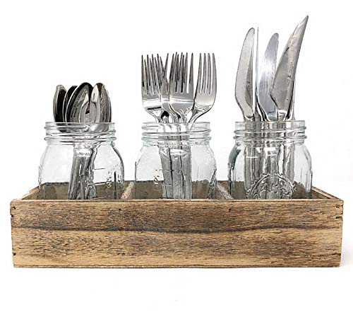Mason Jar Glass Utensil Holder Silverware Organizer with Rustic Wood Caddy Cutlery Storage for Farmhouse Kitchen Decor and Countertop