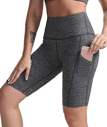 DILANNI Women's Yoga Shorts with Pockets- High Waisted Compression Workout Shorts for Women - Girls Running Shorts with Tummy Control for Athletic Biker Heather Grey