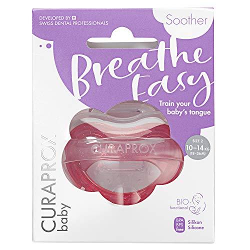 CURAPROX Baby Schnuller, rosa Schnuller, mit Aufbewahrungsbox, Größe 2; 10 bis 14kg bzw. 18-36 Monate, Pacifier, Soothie, rosa, 1 Stück, 22 g