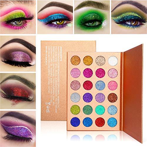 DE'LANCI Glitter Powder Makeup Palette Professional - Lunga Durata, Palette di Ombretti Shimmer Face Makeup Kit (24 Colori)