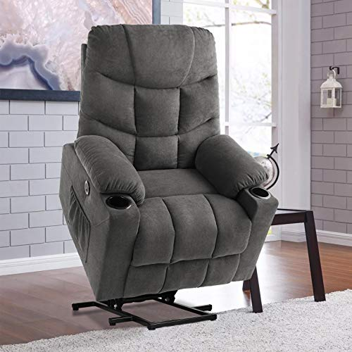 RELAXIXI Power Lift Recliner Chair, Electric Recliners for Elderly, Heated Vibration Massage Sofa with USB Ports, Remote Control, 3 Positions, 2 Side Pockets and Cup Holders (Fabric, Grey)
