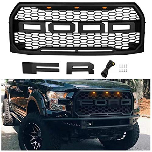 Raptor Style Grill for Ford F150 2015 2016 2017 Including XL, XLT, LARIAT, Raptor, King Ranch, Platinum and Limited, Front Grill for F150 with Amber Lights & Letters