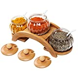 MyGift 16 oz Clear Glass Condiment Round Spice Jars with Ceramic Serving Spoons & Tiered Wood Display Rack