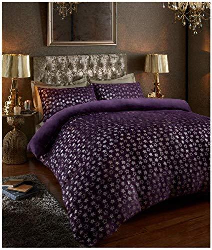 Easy Care Teddy Star Foil Fleece Duvet Cover Set with Pillowcases, Soft & Warm Quilt Set, Double, Purple