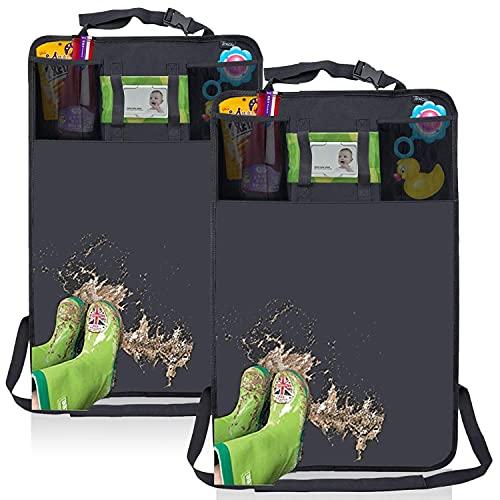 Termichy 2 Stück Rückenlehnenschutz Auto, Kinder Rücksitzschoner, Abwaschbarer Kick Matten für Auto mit Tissue Halter (2 Stück Kickmatte)