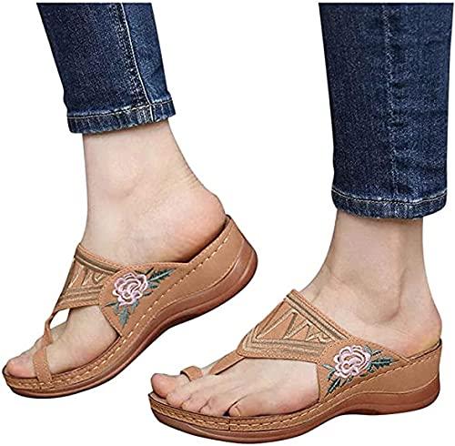 WOERD Sandals Summer with Heels Girls Sandalias Mujer Vintage Planas Mujer Cómodas Zapatillas Suaves,Chanclas CóModas Y Ligeras Y Antideslizantes,Sandalias Playa Verano