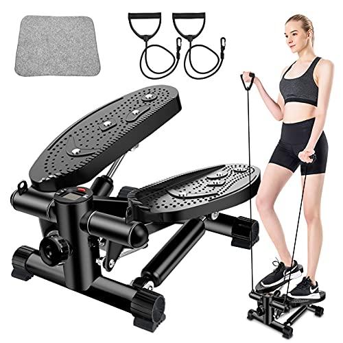 ASEachside Mini stepper - Step para entrenamiento en casa, con bandas de potencia, para entrenamiento en casa, con pantalla, para principiantes y avanzados, color negro