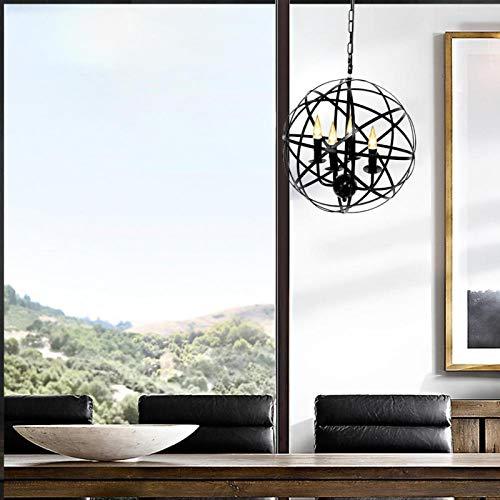 Bediffer Lámpara Colgante Retro Metal Globe Cage Round para Restaurante 85-265V (negro)