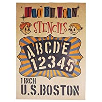 ステンシルシート アルファベット大文字&数字セット U.S.BOSTON (1インチ)