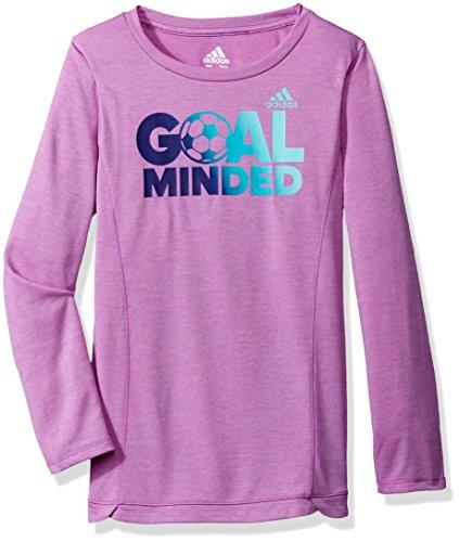 adidas Girls' Big Long Sleeve Girly Tee Shirt, Light Purple Heather, L (12/14)
