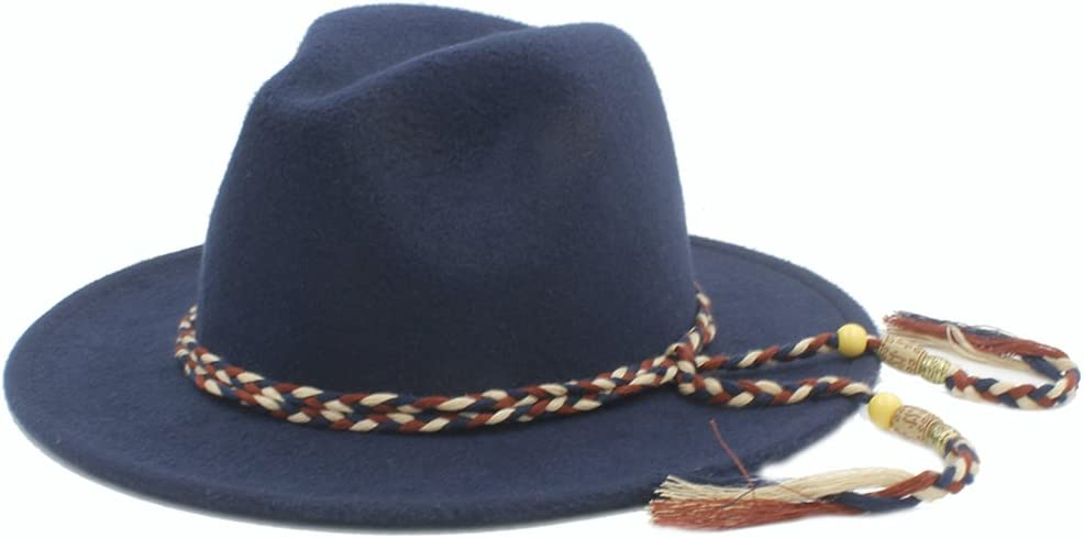 Fedora Hat for Lady Winter Autumn Wide Brim Jazz Hats with Fashion Ribbon,Lightweight,Breathable (Color : 7, Size : 57-58CM)