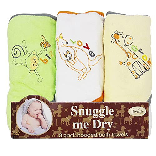 Frenchie Mini Couture, Hooded Bath Towels for Babies, 80% Cotton/20% Polyester, Wild Animal Design Baby Bath Towel Set, Pack of 3
