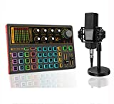 Podcast Equipment Bundle with Podcast Condenser Microphone, Audio Interface with DJ Mixer and live Sound Card and Sound Mixer Board Stand for Guitar, Live Streaming, PC, Recording and Gaming