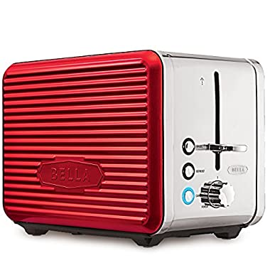 BELLA LINEA 2 Slice Toaster with Extra Wide Slot, Color Red