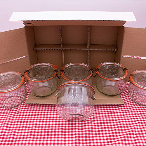 flaschenbauer.de WECK 1/2l Einmachglas 500ml Tulpen-Form - verwendbar als Marmeladenglas, Vorratsglas, Konservenglas 6 Stück