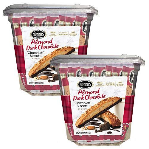 Nonni's Biscotti Value Pack, Cioccolati Dark Chocolate Almond, 50 Count
