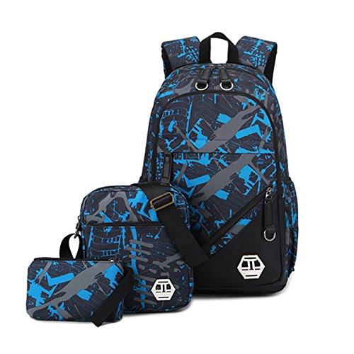 Mioy Tres piezas set adolescentes mochilas escolares lona estampados mochila Hombres 15 Pulgadas ordenador portatil backpack (Azul)