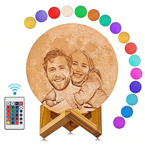 Moon Lamp with Picture Engraved 4.7inch 16 Colors LED 3D Print Moon...