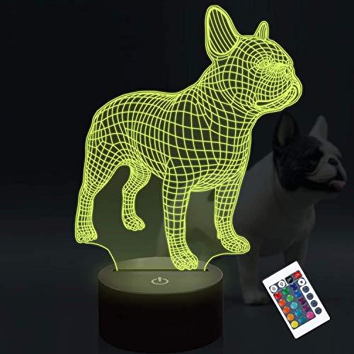 Luz de noche LED 3D Bulldog francés, lámpara de decoración que cambia de color CooPark 16 con control remoto y conexión USB para suministro de fiesta de cumpleaños para niños niñas