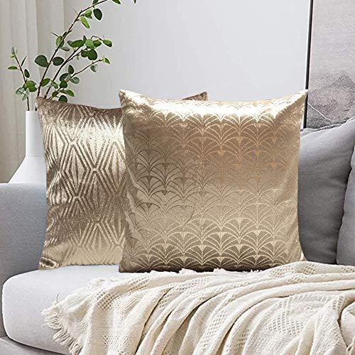 FRECINQ Fundas Cojines 45x45cm Cojines Sofa 2 Piezas, Funda de Almohada Estampada en Caliente Style Geométrica para el Sofa Sillas Jardín Coche Sala de Estar (Oro)