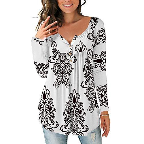 Lazzon Camisas Manga Larga Mujer Blusa Casual Suelto Túnico Botones Talla Tops Grande Otoño Invierno (Blanco, Size L/EU 42-44)