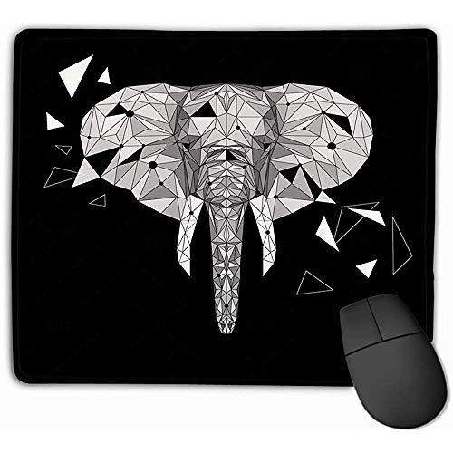 Muis Pad Olifant Puzzel Gestileerde Olifant Laag Poly Ontwerp Dier gebruik als Print Poster Rechthoek Rubber Mousepad 30X25CM