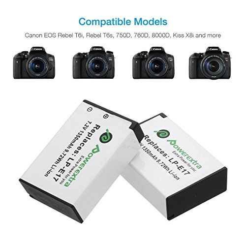 Powerextra 2 Pack Replacement Canon LP-E17 Battery and Dual USB Charger for Canon EOS RP Rebel SL2 SL3 T6i T6s T7i EOS M3 M5 M6 EOS 200D 77D 750D 760D 800D 8000D KISS X8i Camera