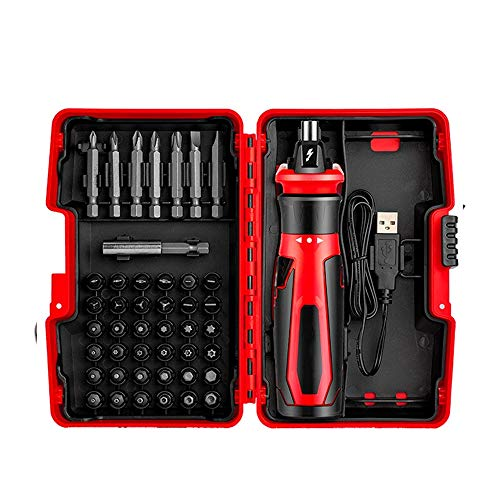 N/D Multi-Bit-Schraubendreher-Set, Akkuschrauber Multi-Werkzeug 3 in 1, mit USB-Ladekabel, Phillips, geschlitzt, Platz und Torx-Bits, Rots