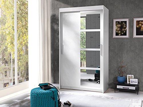 Furniture24 Kleiderschrank Schwebetürenschrank Schlafzimmerschrank Nero (Weiß matt)
