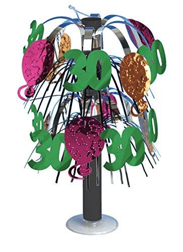 Creative Converting 261720 30e Anniversaire Mini Feuille Table, Argent/Vert/Rose