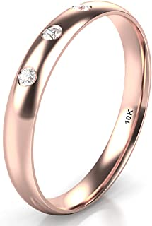 10K White/Yellow/Rose Gold 3 Diamond 3MM Dome Wedding Anniversary Band Ring