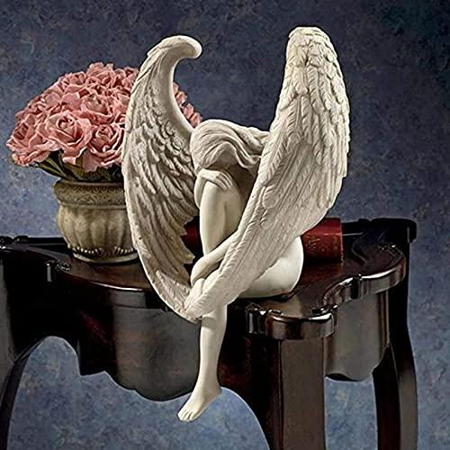 Mstoio Wing Angel Figurines Estatua Decoración del hogar Adorno Escultura de la divinidad Escultura de Resina Creativa para el jardín Puerta de la casa Up Rand Decor-Two