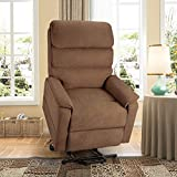 Esright Electric Dual Motor Power Recliner Lift Chair Microfiber Lift Recliner for Elderly, Heat/Vibration/Massage/Remote Control, Lie Flat, Coffee
