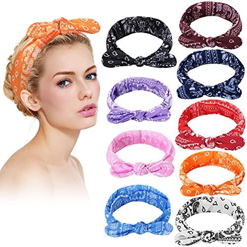 9 Pieces Boho Bow Headbands for Women Paisley Headband Head Wrap Knot Headwrap Retro Flower Printed Elastic Rabbit Ear Head Wrap Cute Hair Accessories