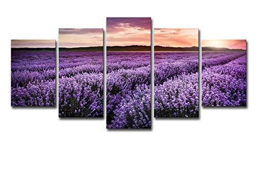 JKZHILOVE Cuadro en Lienzo Flores de Lavanda púrpura Impresión de 5 Piezas Material Impresión Artística Imagen Gráfica Decoracion de Pared para Tu Salón o Dormitorio Sin Marco 150 x 80 cm