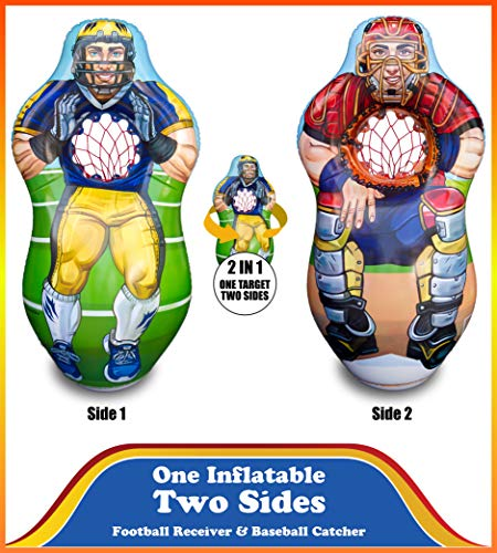 ImpiriLux Inflatable 5 Foot Tall Double Sided Football Receiver and Baseball Catcher Target Trainer Set | Includes One Inflatable with Two Sided, 2 Plush Footballs, 2 Plush Baseballs