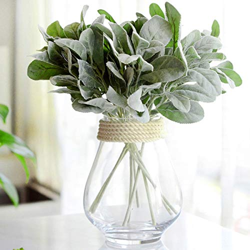 LAMF 8PCS Artificial Flocked Lambs Ear Leaves Spray Lambs Ear Stems Foliage Picks Artificial Greenery Plant Real Touch Green Plant for Flowers Garden Bonsai Decor