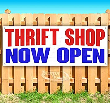 Thrift Shop Now Open 13 oz Banner Heavy-Duty Vinyl Single-Sided with Metal Grommets