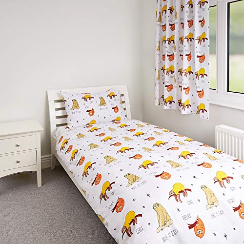 Zappi Co Sloth Design Bedding Set Childrens Girls Boys Single Bed Duvet Cover and Matching Pillowcase 135cm x 200cm