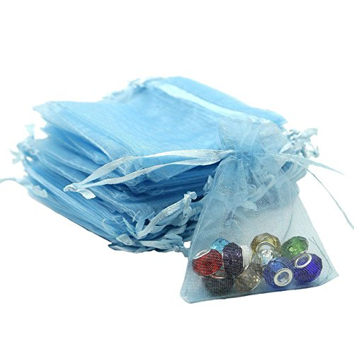 Organza Bags 100pcs 4 x 6 Inch Gift Bags Organza Drawstring Pouch Jewelry Party Wedding Favor Party Festival Gift Bags Candy Bags (Light Blue)