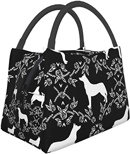 Lonchera Bolsa de comida Bolsa de aislamiento portátil Paquete de cremallera multifuncional para oficina de trabajo escolar, Husky Siberian Huskies Silueta de perro Floral Negro