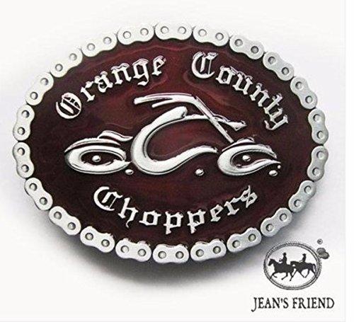 Napolo Cinturon de Hebilla Western Vintage Buckle Hombre Chopper Condado de Orange Rojo