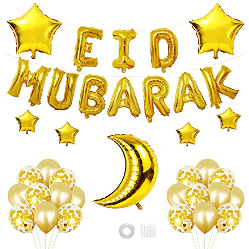 Set di Palloncini Decorativi Eid Mubarak -30PCS Banner di Palloncini stagnola Islamica Eid per Eid Ramadan Forniture per Feste Islam Festa di Compleanno di Fidanzamento di Laurea (Dorato)
