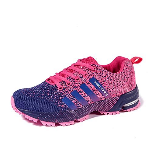Aerlan Men's Running Shoes,Zapatillas de Deporte al Aire Libre, Hombres, Mujeres, Pares de Zapatos para Correr Transpirables-Rose Red_48,Zapatos de Gimnasia Zapatos Ligeros
