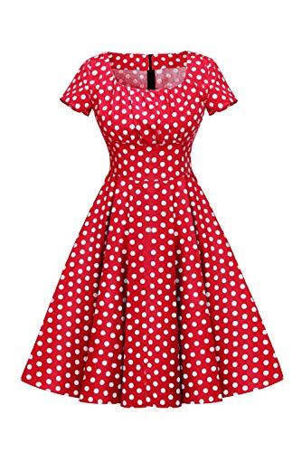 MisShow Damen 1950er Petticoat Kleid Festliches Rockabilly Gepunkt Vintage Kleid Swing Faltenrock Rot XL | Bekleidung > Kleider > Petticoat Kleider | MisShow