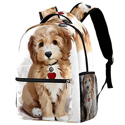 Liangbaiwan Mochila para adolescentes niñas niños mochila ligera mochila de viaje mochila Pintura de cachorro peludo Impresión de sacos