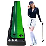 Wekin Golf Putting Green Mat with Auto Ball Return Function, 2 Holes/10 Feet Mini Golf Practice Training Aid, Dual-Track Putting Control Accuracy, Great For Use at Home & Office,Indoor,Include 3 Balls