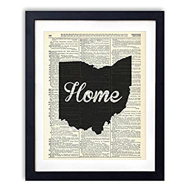 Ohio Home Script Upcycled Vintage Dictionary Art Print 8x10
