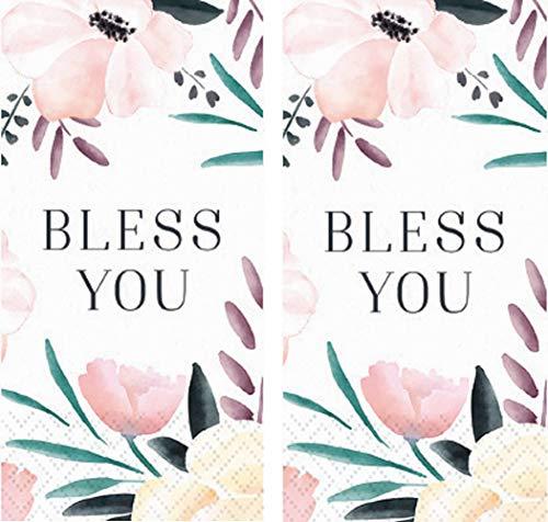 Design Design Hankies Pocket or Purse Tissue Packets Bundle of 6 Bless You Floral